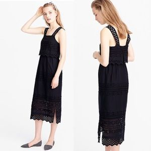 NWT J. Crew Tiered Eyelet Midi Dress Black Size 00